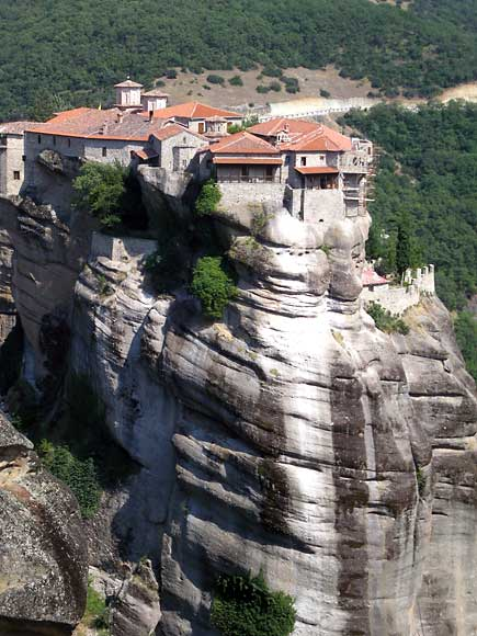 The buildings in Meteora are built on almost inaccessible sandstone peaks