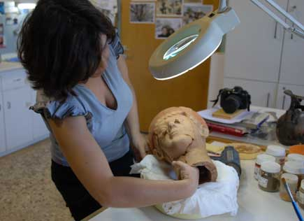 Anna Tsmakda restoring a terracotta head (480 BC) found in a grave of a Macedonian Queen