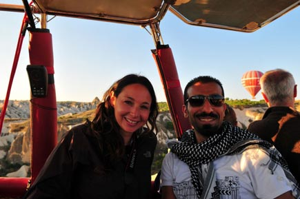 Ammar with Melissa, who he made friends with on the balloon ride
