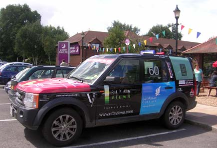 The Land Rover outside the Premier Inn in Holingbourne, which is 40 miles from London.