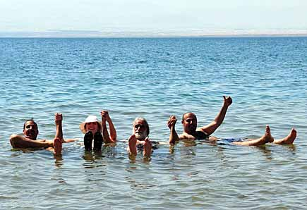 Floating on the waters of the Dead Sea!