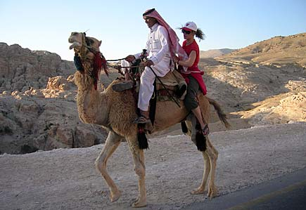 Maria riding the camel