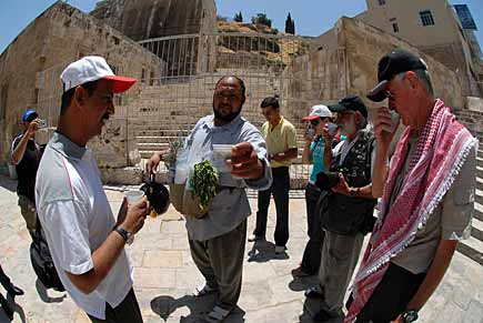 The team enjoys some fresh tea with mint leaves by the Roman amphitheatre in downtown Amman