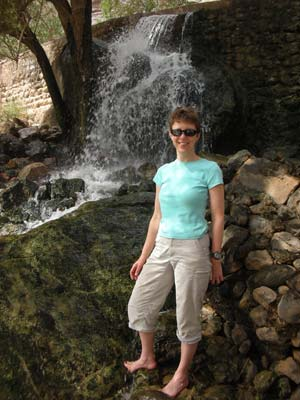 Sarah at the waterfall at Wadi Tanuf