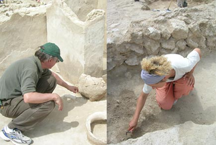 Archeologists Dr Alan Walmsley and Anne Mette