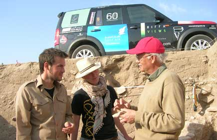 From left, Peter Bye Jensen, Camilla Bjarnoe and Dr. Flemming Hojlund in Failaka Island, Kuwait.