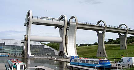 The Falkirk Wheel, which has become a popular tourist attraction